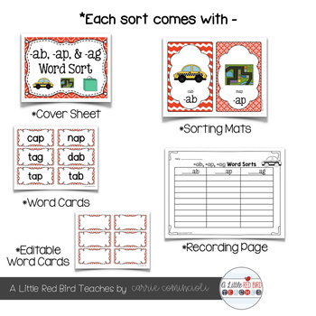 Short Vowel (CVC) Word Sorts {Editable}