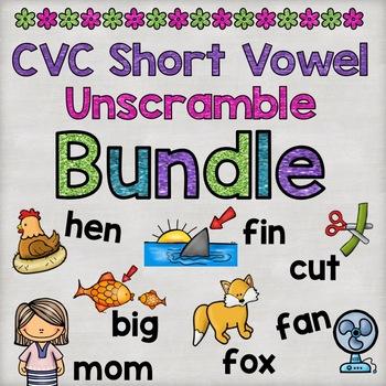 Short Vowel CVC Word Unscramble PowerPoint Bundle