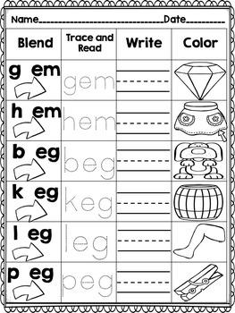 Short Vowel CVC Word Work! Blend it! Trace it! Read it! Write it! Color it!