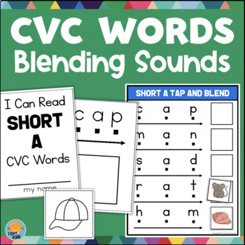 Short Vowel CVC Words Blend & Read Centers and Mini Books