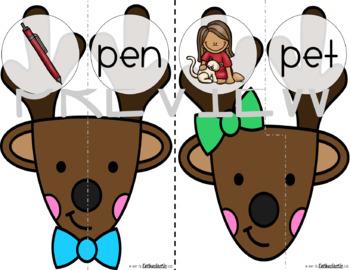 Short Vowel CVC Words Puzzle: Low-Prep Reindeer Game