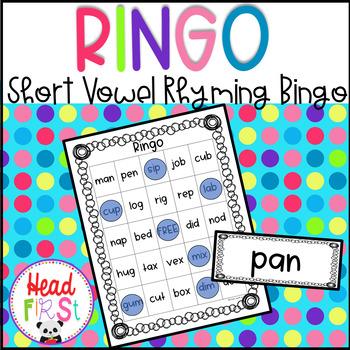 Short Vowel CVC Words Rhyming BINGO ~ Word Work | Phonics
