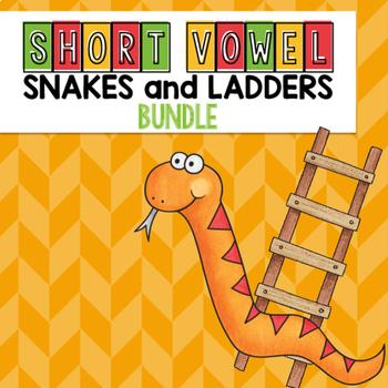 Short Vowel CVC Words Snakes and Ladders Game BUNDLE