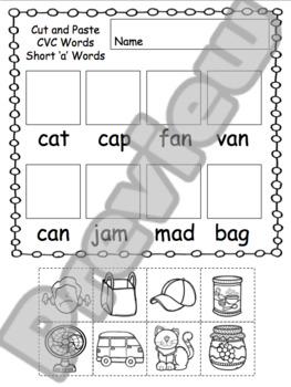 Short Vowel CVC Worksheets Cut and Glue