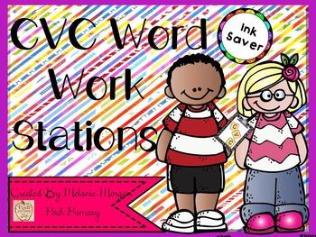 Ink Saver Short Vowel CVC Workstations 8 + I Have, Who Has