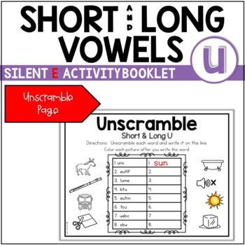 Short Vowel (CVC) to Long Vowel (CVCE) Booklet ~ The Sound of u