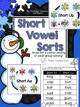 Short Vowel Center Sort Activity- Winter Themed