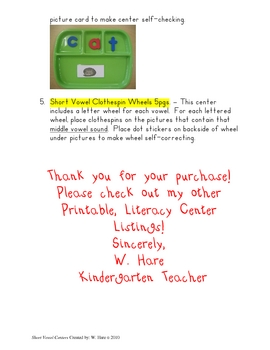 Short Vowel Centers : Printable, Ready to Use! K-2 Literacy Centers