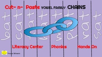 Short Vowel Chains Literacy Center Hands- On  Picture Clues & Word Families