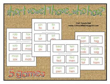 Short Vowel Circle Games--Set of 5 Games