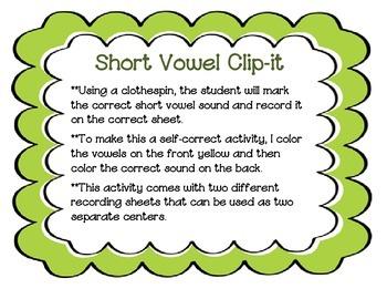 Short Vowel Clip-It Activity