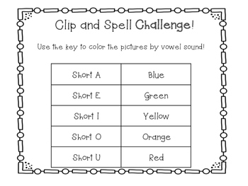 Short Vowel Clip and Spell Game