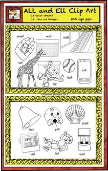 Short Vowel Clip art Set - All and Ell Word Families - Rhyming Words