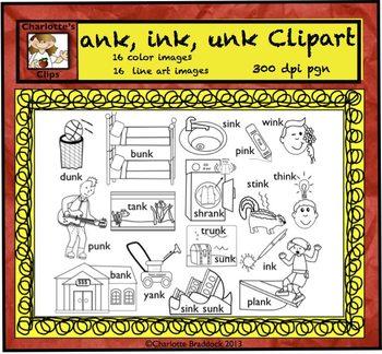 Short Vowel Clip art Set - ank, ink, unk Word Families - Rhyming Words
