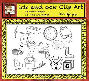 Short Vowel Clip art Set - ick and ock Word Families - Rhyming Words