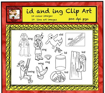 Short Vowel Clip art Set - id and ing Word Families - Rhyming Words