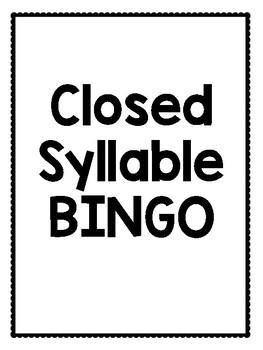 Short Vowel/Closed Syllable Bingo