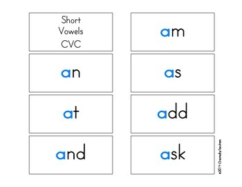 Short Vowel Color Flash Cards