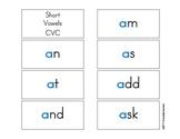 Short Vowel Color Flash Cards