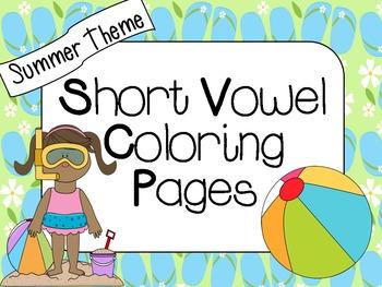 Short Vowel Coloring Worksheets- Summer Theme