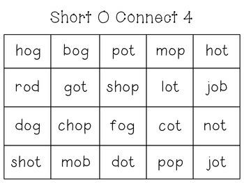 Short Vowel Connect 4 - A, E, I, O, U