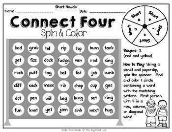 Short Vowel Connect Four Game - FREE