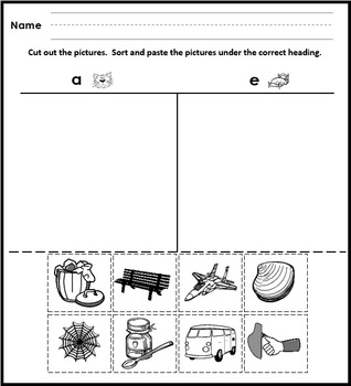 Short Vowel Cut and Paste Picture Sorts Phonics/Phonemic Awareness Centers