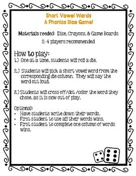 Short Vowel Dice Game!