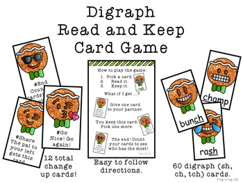Short Vowel Digraph Read and Keep Card Game - Gingerbread Phonics Game