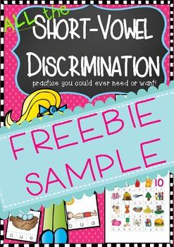 Short Vowel Discrimination Clip Cards and Worksheets Packet FREEBIE Sample!