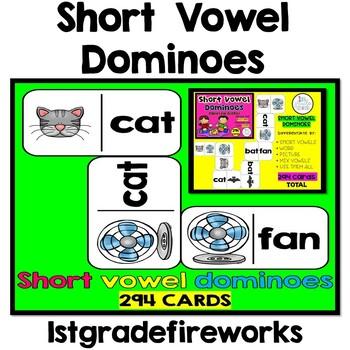 Short Vowel Dominoes - Phonics Games for K-2