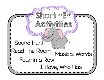 "Short Vowel ""E"" Activities"