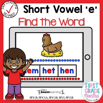 Boom Cards Short E CVC Find the Word