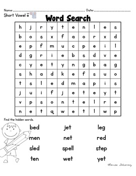 Short Vowel E Phonics and Word Work Activities