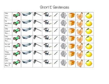 Short Vowel E Speech Practice Sheet