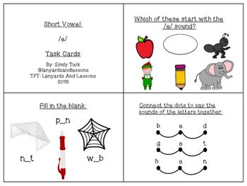 Short Vowel: E Task Cards
