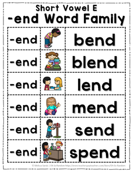 Short Vowel E Word Work End Word Family By Oh So Random Tpt