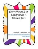 Short Vowel E or Long Vowel E Picture Sort