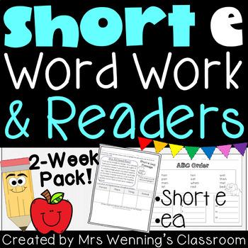 Short Vowel Ee Pack! 2 Weeks of  Lesson Plans, Activities