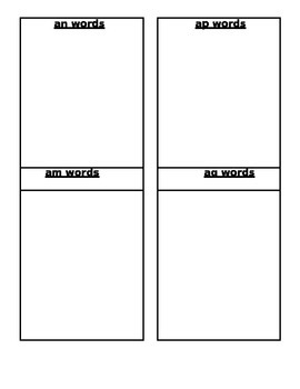 Short Vowel Families Sorting Packet in Black & White MS Word