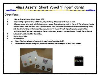 """Short Vowel """"Finger Cards"""""""