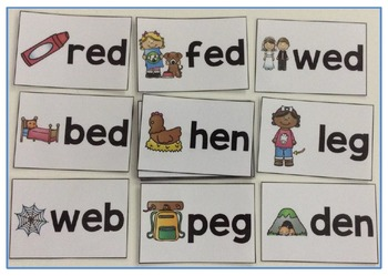 Short Vowel Flashcards - Short E CVC Word Families - Phonics Flashcards