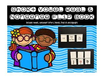 Short Vowel Flip Book {Real vs Nonsense}