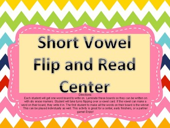 Short Vowels Flip and Read center