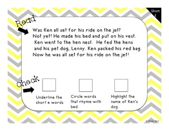 Short Vowel Fluency Read and Check!