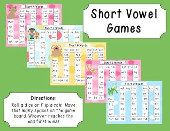 Short Vowel Game Boards - AEIOU