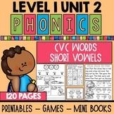 Level 1 Unit 2 Short Vowel Games and Printables