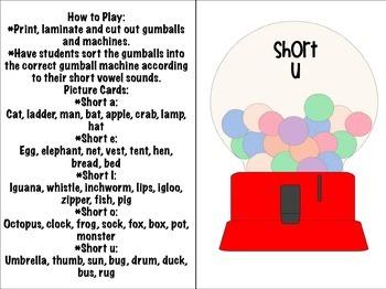 Short Vowel Gumball Sort Literacy Activity!