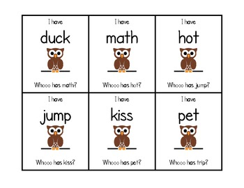 """Short Vowel """"I Have Who Has"""" Game Cards"""
