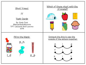 Short Vowel: I Task Cards